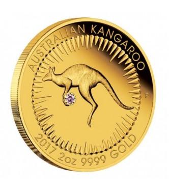 Australian Kangaroo 2017 2oz Gold Proof Pink Diamond Edition